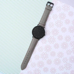 Personalised Mr Beaumont Black Face Grey Leather Watch-OurPersonalisedGifts.com