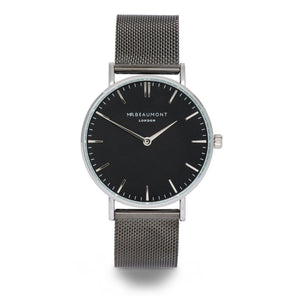 Personalised Mr Beaumont Black Face Metallic Charcoal Watch