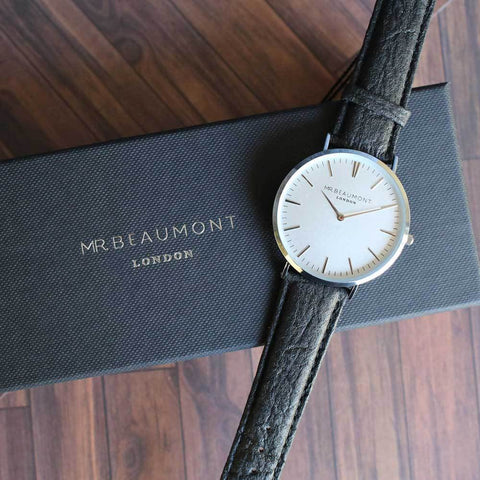 Personalised Mr Beaumont Black Vegan Watch-OurPersonalisedGifts.com