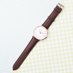 Personalised Mr Beaumont Brown & Gold Leather Watch