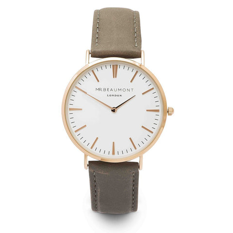 Personalised Mr Beaumont Grey & Gold Leather Watch