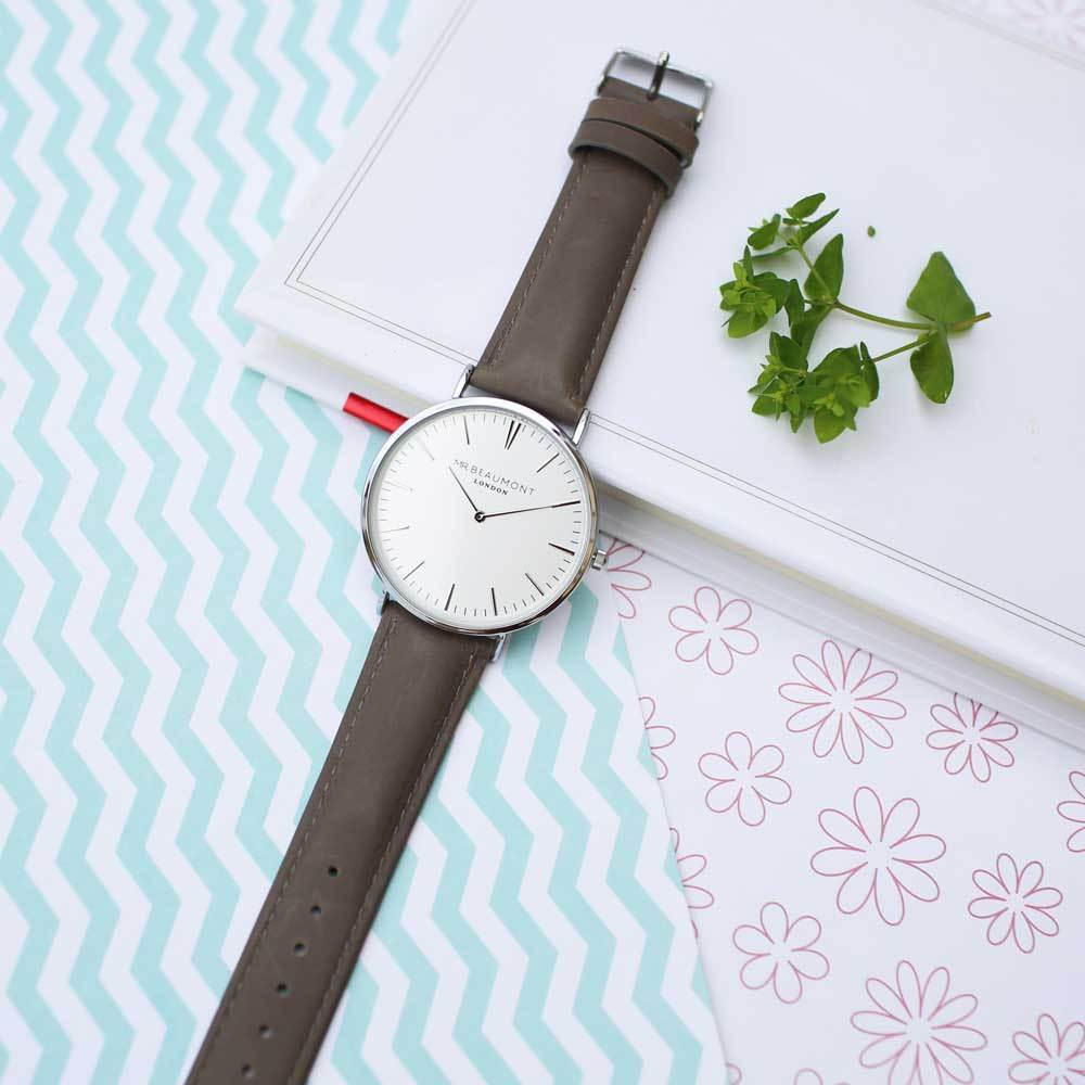 Personalised Mr Beaumont Grey Leather Watch-OurPersonalisedGifts.com