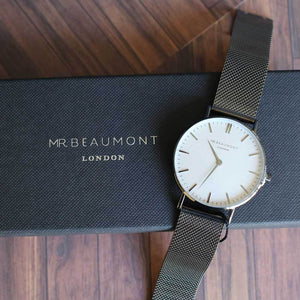 Personalised Mr Beaumont Metallic Charcoal Watch-OurPersonalisedGifts.com
