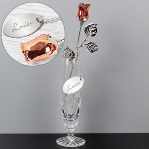 Personalised Name Silver Plated Rose Gold Rose Bud Ornament-OurPersonalisedGifts.com