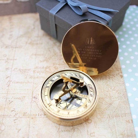 Personalised Nautical Sundial Compass & Gift Box-OurPersonalisedGifts.com