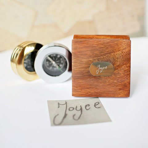 Personalised Own Handwriting Compass with Wooden Box-OurPersonalisedGifts.com