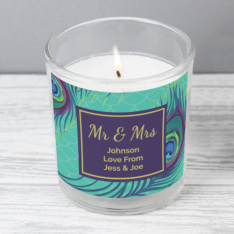 Personalised Peacock Scented Jar Candle-OurPersonalisedGifts.com