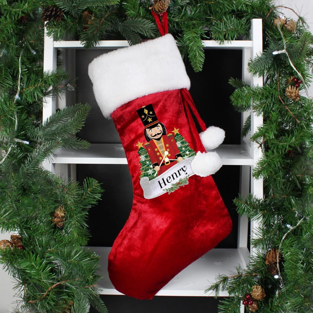Personalised Red Nutcracker Stocking-OurPersonalisedGifts.com