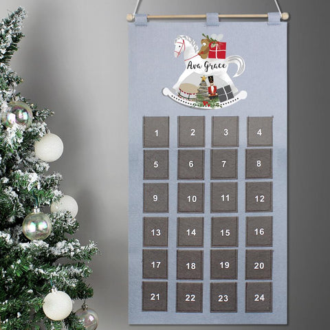 Personalised Rocking Horse Advent Calendar In Silver Grey-OurPersonalisedGifts.com