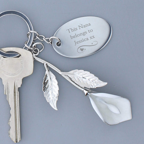 Personalised Silver Plated Calla Lily Keyring-OurPersonalisedGifts.com