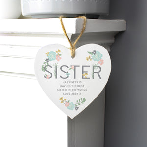 Personalised Sister Floral Wooden Heart Decoration-OurPersonalisedGifts.com