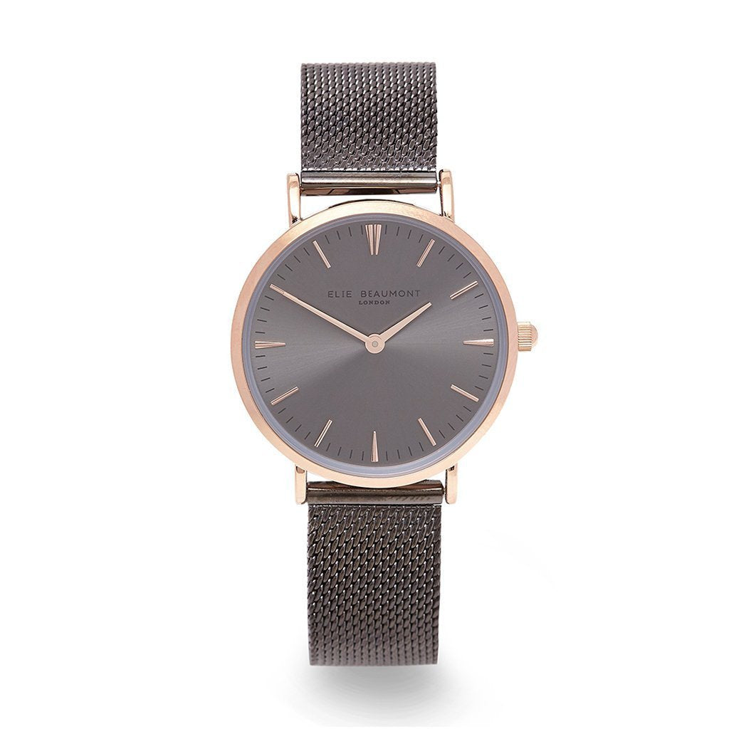 Personalised Small Elie Beaumont Dark Grey Mesh Watch-OurPersonalisedGifts.com