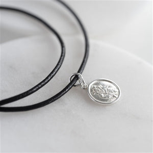 Personalised St Christopher Sterling Silver Leather Necklace-OurPersonalisedGifts.com