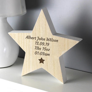 Personalised Star Motif Rustic Wooden Star Decoration-OurPersonalisedGifts.com