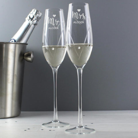Personalised Swarovski Mr & Mrs Flutes with Gift Box-OurPersonalisedGifts.com