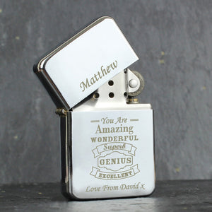 Personalised Vintage Typography Lighter-OurPersonalisedGifts.com