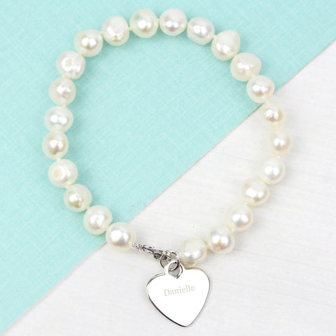 Personalised White Freshwater Pearl Name Bracelet-OurPersonalisedGifts.com