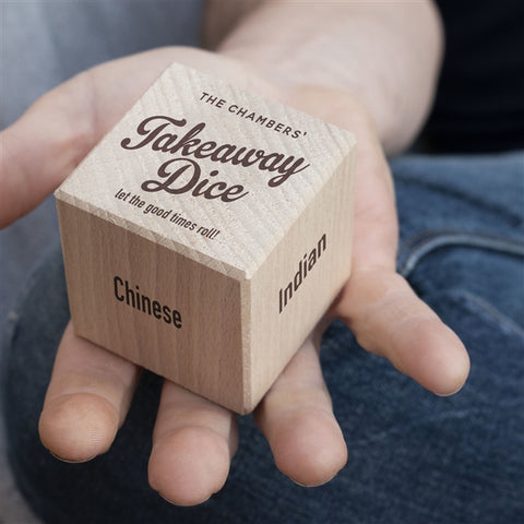 Personalised Wooden Takeaway Dice-OurPersonalisedGifts.com