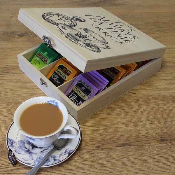 Personalised Wooden Tea Box-OurPersonalisedGifts.com