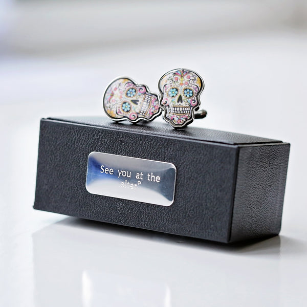 Skull Cufflinks With Engraved Box-OurPersonalisedGifts.com