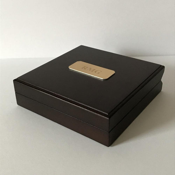Brass Compass and Personalised Wooden Presentation Box-OurPersonalisedGifts.com