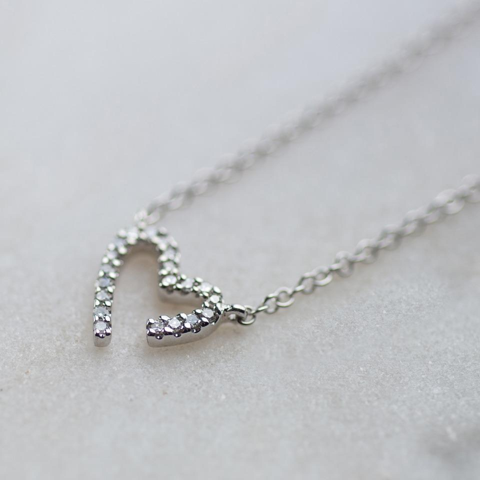 Modern White Gold Diamond Heart Necklace-OurPersonalisedGifts.com
