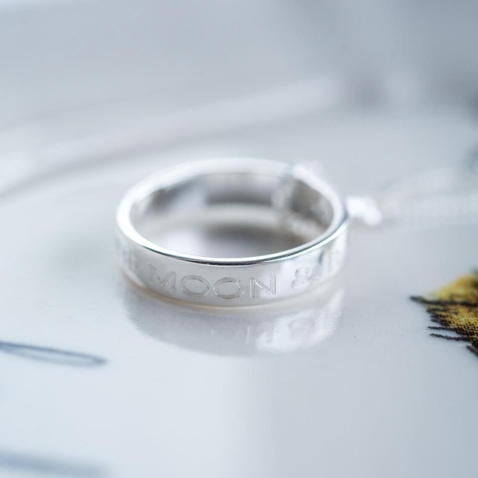 Moon & Back Ring Necklace-OurPersonalisedGifts.com