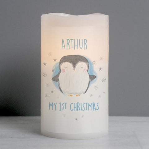 Personalised 1st Christmas Penguin LED Candle-OurPersonalisedGifts.com