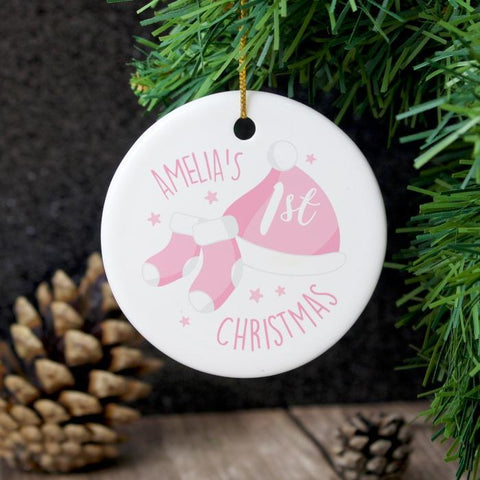 Personalised 1st Christmas Pink Ceramic Decoration-OurPersonalisedGifts.com