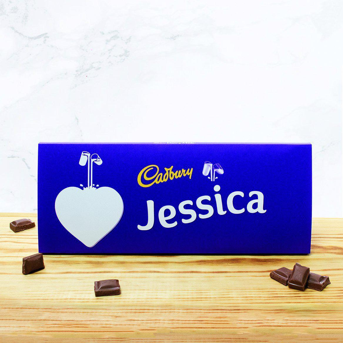 Personalised 360g Cadbury Chocolate Bar - Heart-OurPersonalisedGifts.com