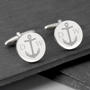 Personalised Anchor Round Cufflinks-OurPersonalisedGifts.com