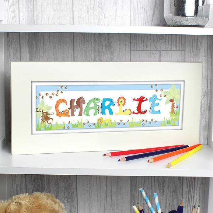 Personalised Animal Blue Name Frame-OurPersonalisedGifts.com