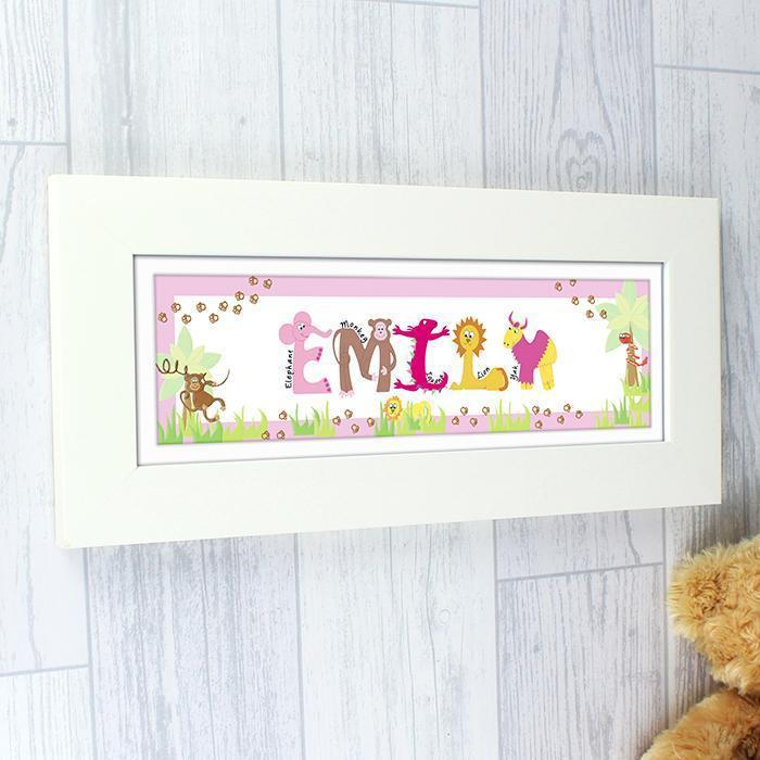Personalised Animal Pink Name Frame-OurPersonalisedGifts.com
