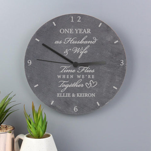 Personalised Anniversary Slate Clock-OurPersonalisedGifts.com