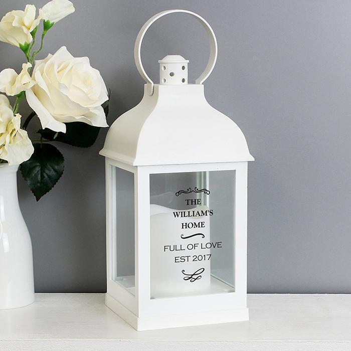 Personalised Antique Scroll Rustic White Lantern-OurPersonalisedGifts.com