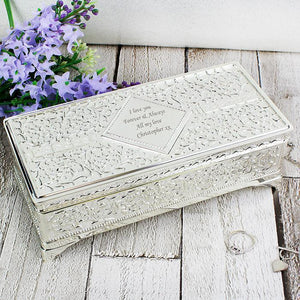 Personalised Antique Silver Plated Jewellery Box-OurPersonalisedGifts.com