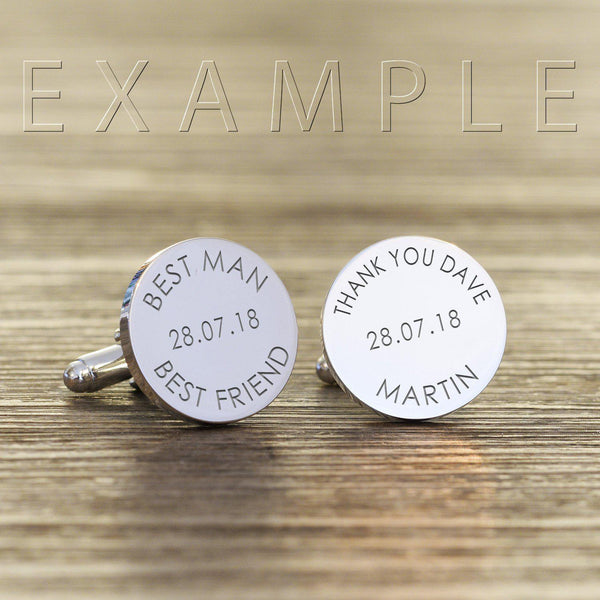 Personalised Any Message Round Cufflinks-OurPersonalisedGifts.com