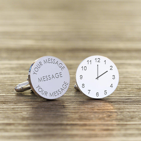 Personalised Any Message Time Round Cufflinks-OurPersonalisedGifts.com