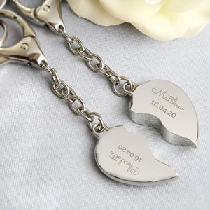 Personalised Any Message Two Hearts Keyring-OurPersonalisedGifts.com