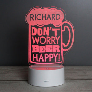 Personalised Beer Happy LED Colour Changing Light-OurPersonalisedGifts.com