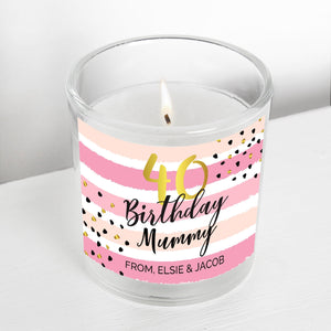 Personalised Birthday Gold and Pink Stripe Scented Jar Candle-OurPersonalisedGifts.com