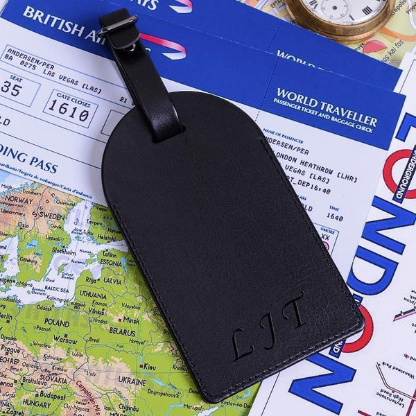 Personalised Black Luggage Tag-OurPersonalisedGifts.com