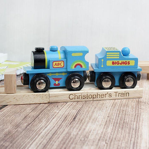 Personalised Blue ABC Train and Track-OurPersonalisedGifts.com