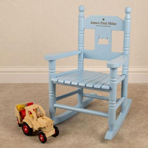 Personalised Blue Rocking Chair-OurPersonalisedGifts.com