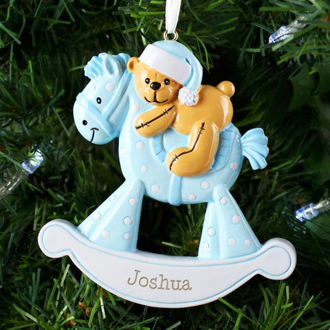 Personalised Blue Rocking Horse Resin Decoration-OurPersonalisedGifts.com