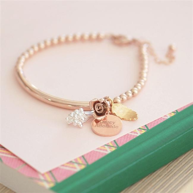 Personalised Bouquet Rose Gold Bracelet-OurPersonalisedGifts.com