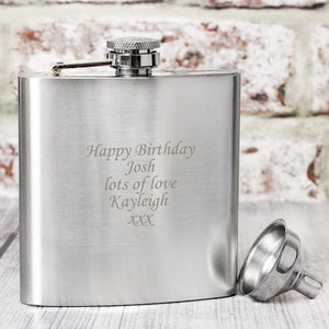 Personalised Boxed Stainless Steel Hip Flask-OurPersonalisedGifts.com