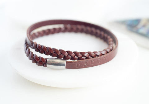 Personalised Brown Leather Wristband-OurPersonalisedGifts.com