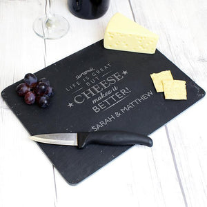 Personalised Cheese Makes Life Better Slate Cheeseboard-OurPersonalisedGifts.com
