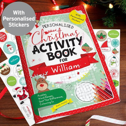 Personalised Christmas Activity Book with Stickers-OurPersonalisedGifts.com